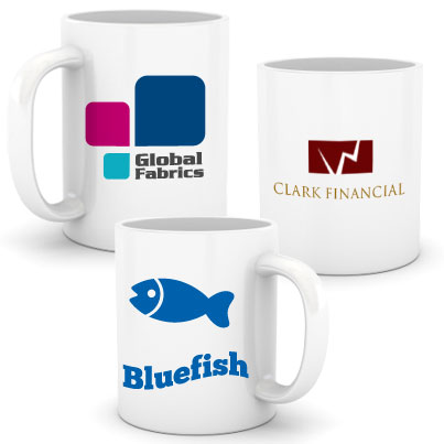 Image of mugs with logos